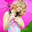 Stock Photo: Beautiful girl and umbrella