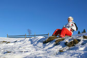 The sports girl on sledge climbs down a mountain — Stock Photo