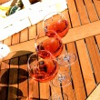 Rose wine on the wood table — Stock Photo