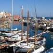 Fishing boats in harbour, Sardinia - Stock Photo
