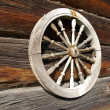 Stock Photo: Wheel on timbered wall