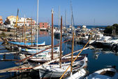 Fishing boats in harbour, Sardinia — Stock Photo