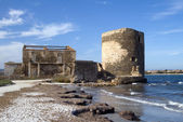 Sentry serf tower on coast, Sardinia — Stock Photo