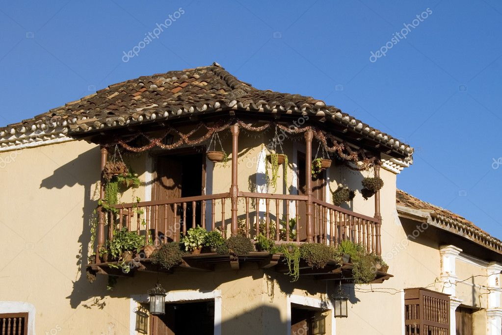 Balcony in the old house, Trinidad, Cuba  Stock Photo #1289257