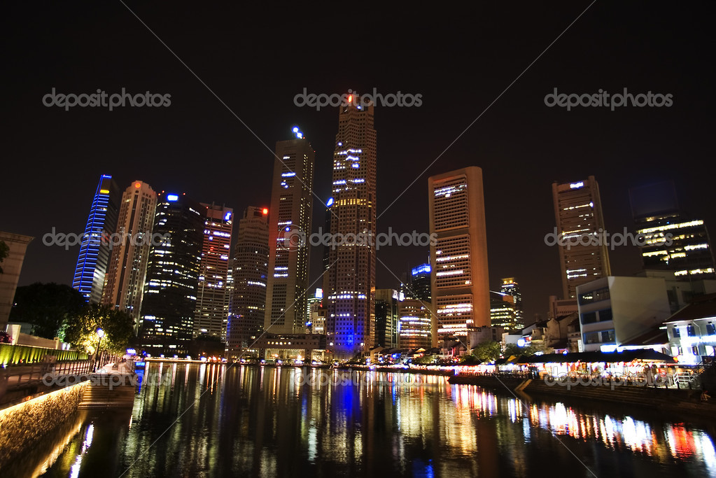 Singapore - city center, night view, Skyscrapers above the river  Stock Photo #1566823