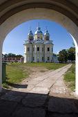 Orthodox church in island Konevets — Stock Photo