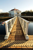 The bridge with a white handrail — Стоковое фото