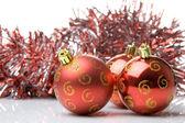 Красный рождественские шары — Стоковое фото