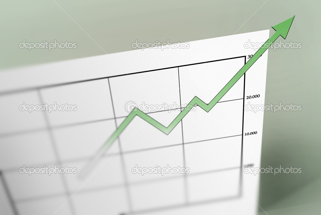 A green arrow pointing up on a graph sheet. breaking the paper it is printed on. — Stock Photo #1321175
