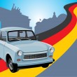 Retro car on background Berlin — Stock Vector