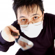 Man in a mask with knife — Stock Photo