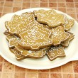 Stock Photo: Gingerbread christmas cookies on pla
