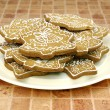 Gingerbread christmas cookies on the pla - Stock Photo