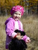 Little girl with teddy bear — Stock Photo