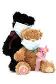 Teddy bears in masks — Stock Photo