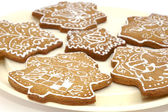 Gingerbread christmas cookies on the pla — Stock Photo