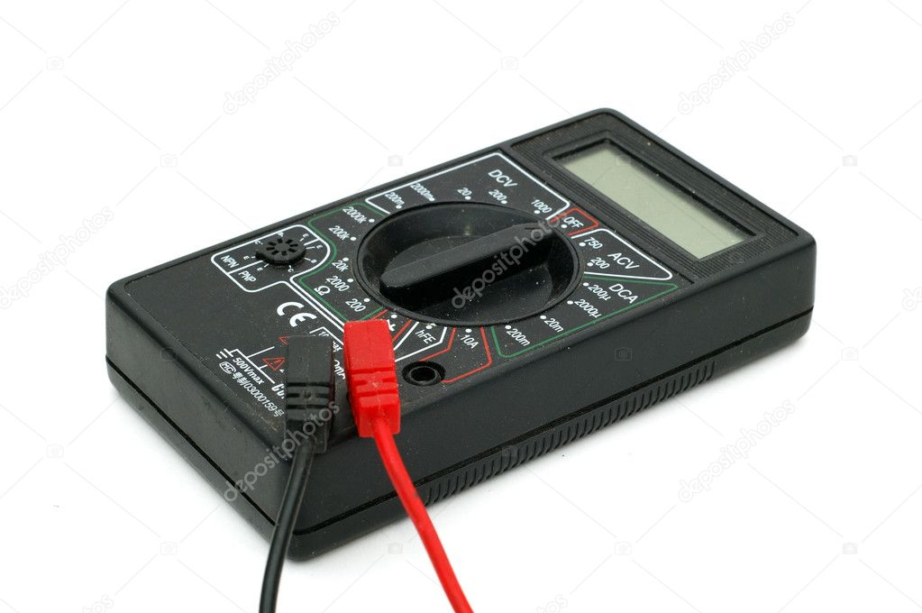 Electric meter with wires over white background  Stock Photo #1391733