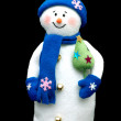 Handmade Snowman over black — Stock Photo