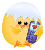 Chick with cellphone — Stock Vector