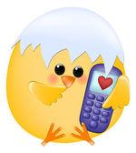 цыпленок с мобильного телефона — Cтоковый вектор