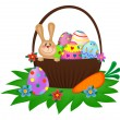 Easter bunny with painted eggs in basket — Stock Vector