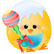 Chick baby with rattle — Stock Vector