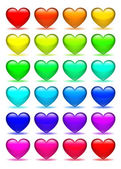 Set of glass hearts icons — Stock Photo
