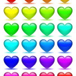 Set of glass hearts icons — Stock Vector
