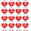 Red hearts icons — Stock Vector