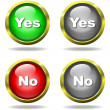 Set of glass Yes - No buttons — Stock Photo