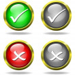 Set of glass Accept - Reject buttons - Stock Photo