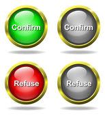 Set di vetro confermare - pulsanti di rifiuti — Foto Stock