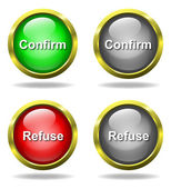 Set of glass Confirm - Refuse buttons — Stockfoto
