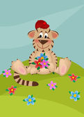 Tiger with bouquet of flowers — Stock Vector