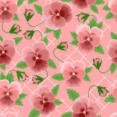 Pink pansies background — Stock Vector