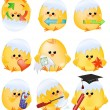 Set of easter chick icons - Stock Photo