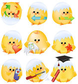 Set of easter chick icons — Stock Photo