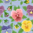Seamless pansies pattern - Stock Vector