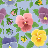 Seamless pansies pattern — Stock Vector