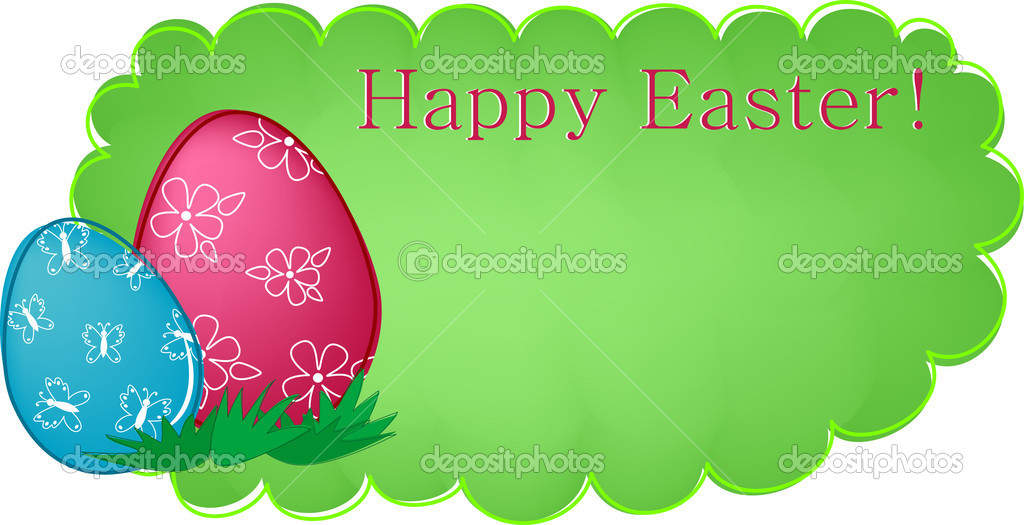 Easter banner or greetings card with painted eggs and flowers (EPS10) — Stock Vector #2388553