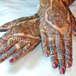 Henna Tattoo Design on Hands - Stock Photo