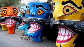 Ravana head effigies — Stock Photo