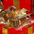 Golden Red Gift Box — Stock Photo