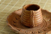 Earthen Pottery Tea Cup and Saucer — Stock Photo