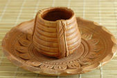 Terracota Earthen Pottery Tea Cup and Sa — Stock Photo