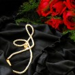 Valentine red roses and pearl  necklace - Stock Photo
