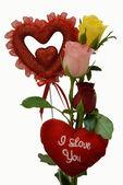 Cadeau de Saint Valentin fleur rose coeur — Photo