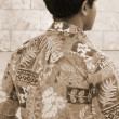 Hawaii Aloha Shirt sepia - Stock Photo
