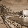 Couple travelling CatalinIsland sepia — Stock Photo #1392443