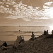 Waikiki Beach Honolulu Hawaii sepia — Stock Photo